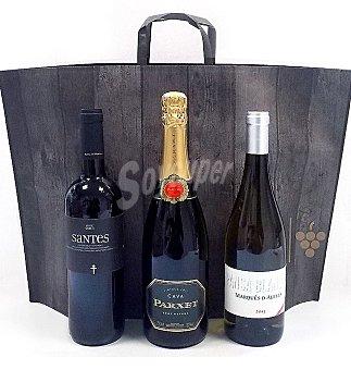 Mont Sant Lote especial con 1 botella de vino tinto santes do santes botella de vino marques d'alella pansa blanca 75 cl + 1 botella de cava parxet brut nature 75 cl Lote 3 botellas de 75 cl