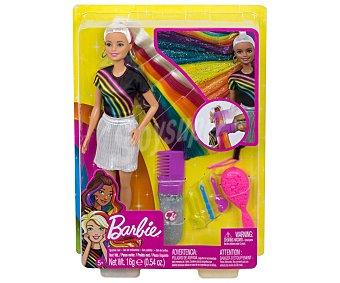Barbie Muñeca Mechas arcoíris con pelo extralargo de 19cm., incluye accesorios, barbie.