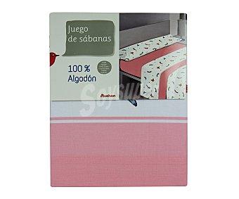 AUCHAN Juego de sábanas 100% algodón, estampado corazón, 90 centímetros 1 Unidad