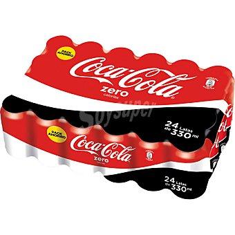 COCA-COLA Zero Refresco de cola zero azúcares 24 latas de 33 cl