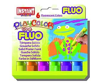 PLAYCOLOR Caja con 6 témperas sólidas con tapa, de muy fácil uso, de diferentes colores fluorescentes, pudiendose utilizar como marcador 1 unidad