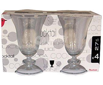 Auchan Copas de vino tinto de pie bajo modelo Sophia, con capacidad de 27 centilitros Pack 4 unidades