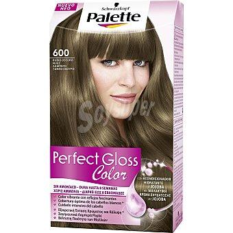 Palette Schwarzkopf Tinte Perfect Gloss Color nº 600 rubio oscuro nuez con acondicionador de jojoba caja 1 unidad sin amoniaco Caja 1 unidad