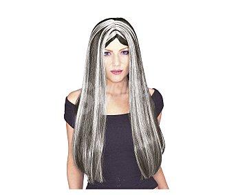 HAUNTED HOUSE Peluca color negro con mechas blancas para disfraz de bruja, especial Halloween Peluca bruja