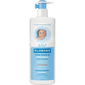 Klorane Bebé Crema limpiadora nutritiva al Cold Cream para la higiene diaria de cuerpo y cabello dosificador 500 ml para pieles secas y muy secas con physiocalenduline Dosificador 500 ml