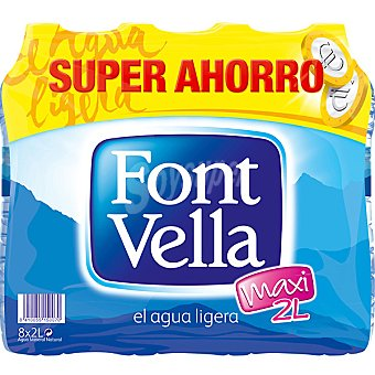 FONT VELLA agua mineral natural pack 8 botellas 2 l