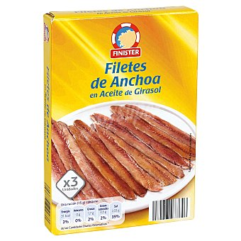 Finister Filetes de anchoa en aceite de girasol  lata pack 3x29g - 87 g neto escurrido