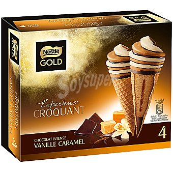 Nestlé Helado cono gold vainilla caramelo 4 ud caja 440 ml 4 ud