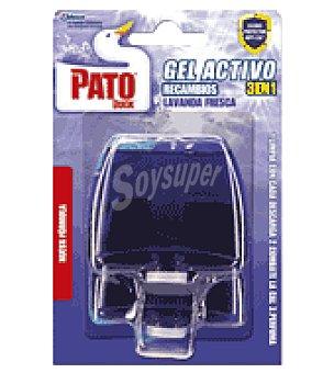 Pato Desodorizante gel triple acción lavanda Pack con 2 un