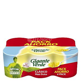 Gigante Verde Maíz dulce en grano neto escurrido Pack 6 latas 140 g