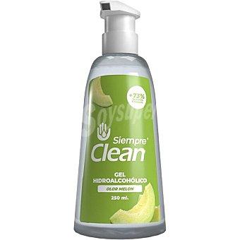 Siempre Gel hidroalcohólico higienizante 73% de alcohol olor a melón clean Dosificador 250 ml