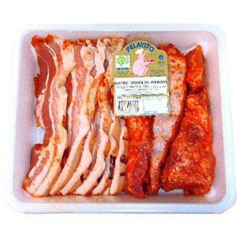 Pelayito surtido de barbacoa con panceta y costillas adobadas de cerdo peso aproximado  bandeja 900 g