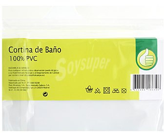 Productos Económicos Alcampo Cortina de baño lisa color blanco de Pvc, 135x180 centímetros 1 Unidad