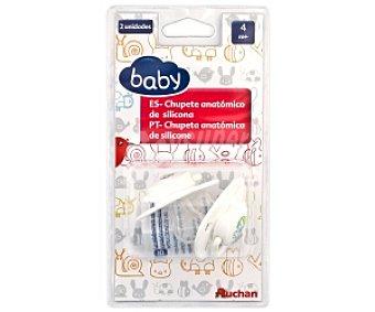 Baby Chupete anatómico de silicona, +4 Meses, Blanco 2 Unidades