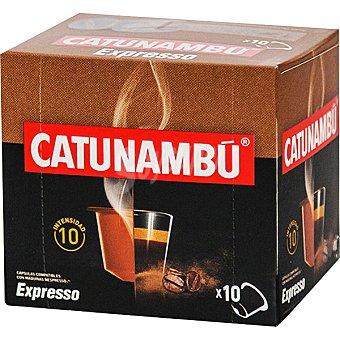 Catunambu Café Expresso intensidad ápsulas compatibles con máquinas Nespresso 10 estuche 10 c