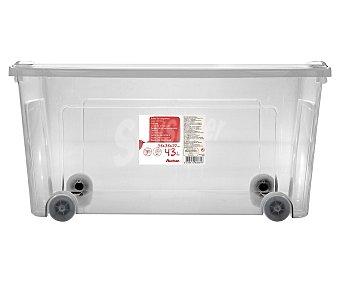 Auchan Caja de ordenación multiúsos con ruedas y tapa, de capacidad 58x38x29 centímetros auchan 43 litros