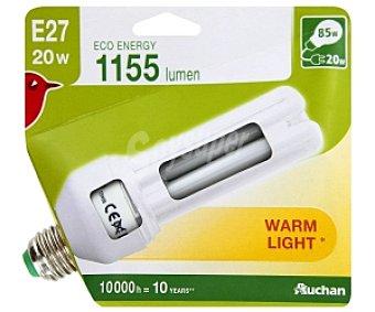 Auchan Bombilla bajo consumo tubo 20 Watios, casquillo E27 (grueso), luz cálida 1 unidad