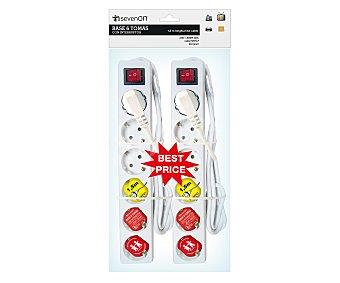Dayron 6 tomas con interruptor y prolongación de 1,5 metros Pack de 2 unidades