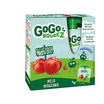 Gogo Squeez Preparado de fruta triturada de manzana y melocotón Pack 4 bolsitas x 90 g