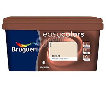 Bruguer Pintura plástica acrílica decorativa, de color marrón centeno y con acabado mate, de la serie Easy Colors 4 litros