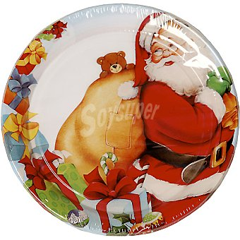 NV CORPORACION plato decorado Santa Claus 22 cm paquete 8 unidades 22 paquete 8 unidades