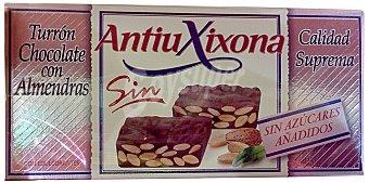 Antiu Xixona Turron sin azucar chocolate almendra Pastilla 200 g