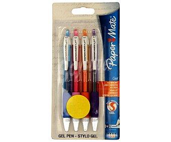 Paper Mate Lote de 4 bolígrafos retráctiles del tipo roller, grip suave, punta media con grosor de escritura de 0.7 milímetros y tinta gel brillante azul, roja, naranja y violeta 1 unidad