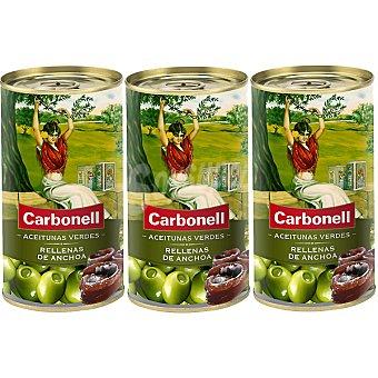 Carbonell Aceitunas rellenas de anchoas neto escurrido Pack 3 latas 50 g