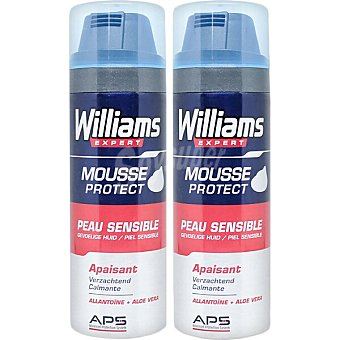 Williams Expert espuma de afeitar piel sensible Pack 2 spray 200 ml