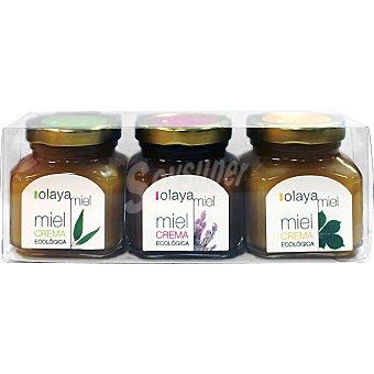 OLAYA Miel crema de castaño brezo y eucalyptus ecológica pack 3 x150 G Estuche 450 g