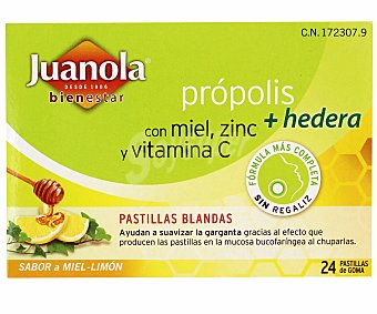 Juanola Pastillas blandas de própolis con hedera que ayudan a suavizar la garganta 24 unidades