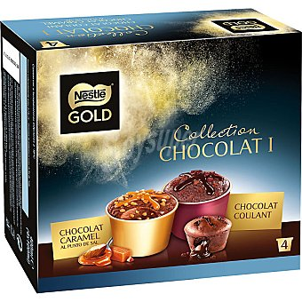 Gold Nestlé Tarrinas de chocolate coulant y caramelo Collection Chocolat estuche 400 ml 4 unidades