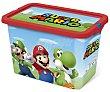 Caja de ordenación infantil con tapa cierre click y 7 litros de capacidad, diseño Mario. Super mario