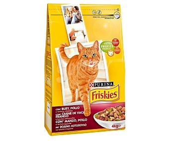 Purina Friskies Comida Seca para Gato Adulto de Buey-Pollo-Hígado 4kg