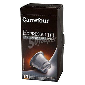 Carrefour Café expreso extrafuerte en cápsulas 10 ud