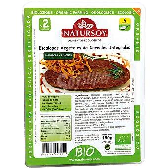 Natursoy Escalopas vegetales de cereales integrales espinacas y piñones Envase 180 g