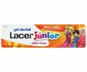 LACER Junior Gel dental con flúor y calcio , sabor a fresa 75 Mililitros