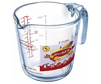 ARCUISINE Jarra medidora con asa con capacidad de hasta 1 litro y fabricada en vidrio resistente a altas temperaturas 1 Unidad