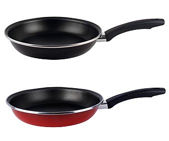 Magefesa Sartén de 28 centímetros de diámetro con cuerpo de acero esmaltado rojo o negro, revestimiento interior antiadherente y mango termoresistente, apto para inducción 1 unidad