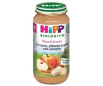 HiPP Biológico Tarritos de manzana, plátano, piña y cereales biológicos 250 gramos