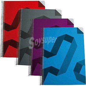 Hipercor cuaderno con espiral de tapa contracolada impresa A4 en colores surtidos 74024 1 unidad