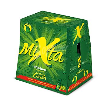 Mahou Cerveza Mixta sin alcohol con gaseosa sabor limón pack 6 botella 25 cl Pack 6 botella 25 cl
