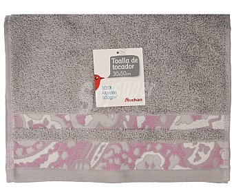 Auchan Toalla con cenefa estampada jacquard color gris, 30x50 centímetros. Toallas 100% algodón para tocador 1 Unidad