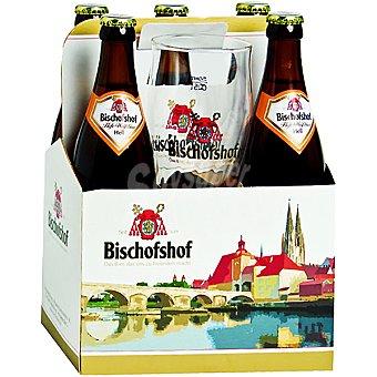 BISCHOFSHOF Hell Cerveza rubia de trigo alemana pack 5 botella 50 cl + 1 vaso gratis Pack 5 botella 50 cl