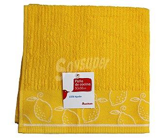 Auchan Paño de cocina de rizo, estampado color amarillo, 50x50 centímetros 1 Unidad