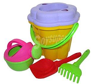 Molto Conjunto de juguetes de playa (pala, rastrillo..) y un cubo para transportalos y guardarlos molto