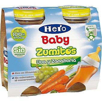 Hero Baby Zumo infantil uva zanahoria Pack 2 botella 130 ml