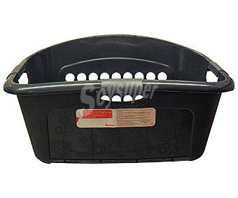 Auchan Cesta de plástico color negro para guardar ropa, 45 litros 1 Unidad
