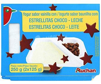Auchan Yogur sabor vainilla con estrellas chocolate con leche 2 Unidades de 125 Gramos