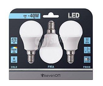 SEVENON Lote de 3 bombillas led esféricas de 6 Watios, con casquillos E14 (finos) y luz fría sevenon 3u